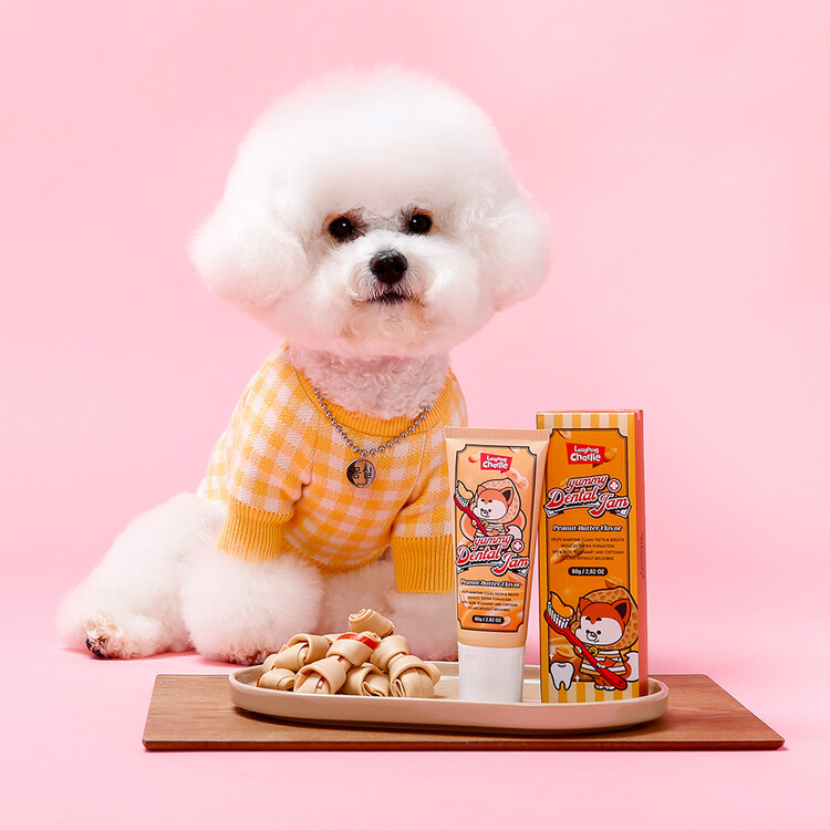 [래핑찰리] 피넛버터향 강아지치약 야미덴탈잼 80g
