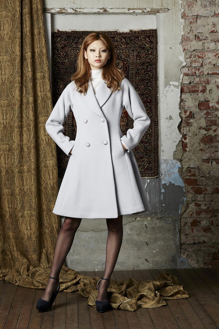 Feminine Flare Wool Coat (LAVENDAR)