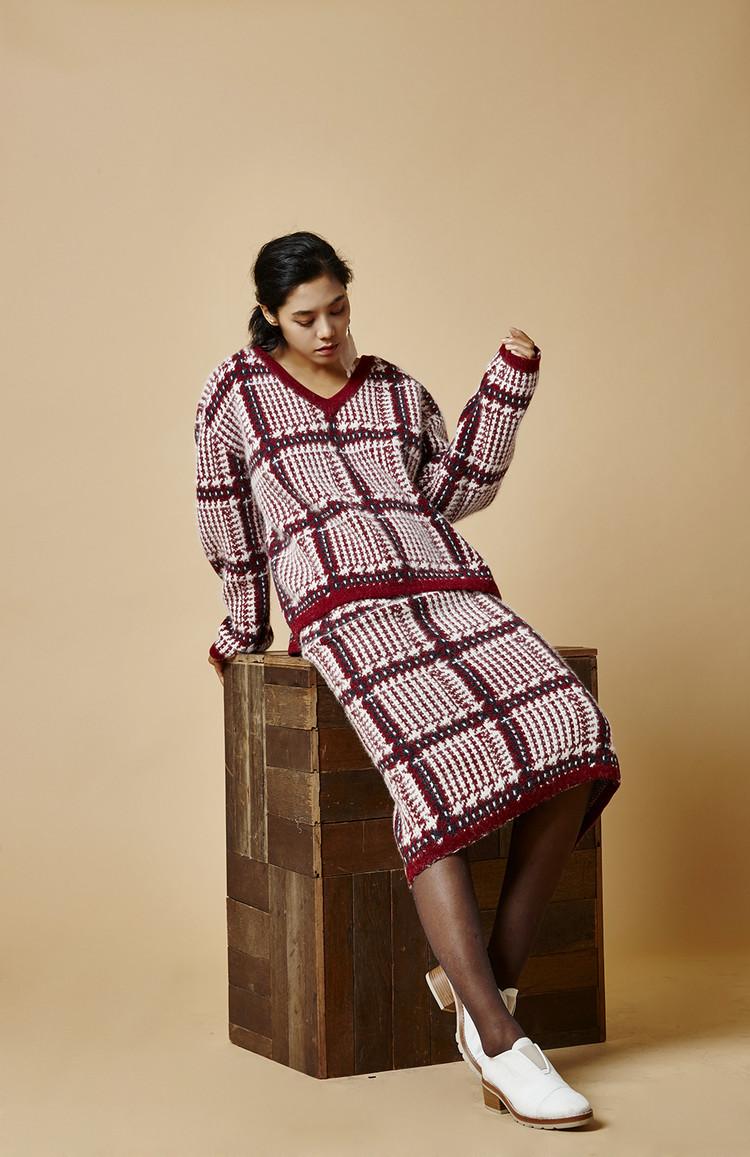 Check Angora Skirt