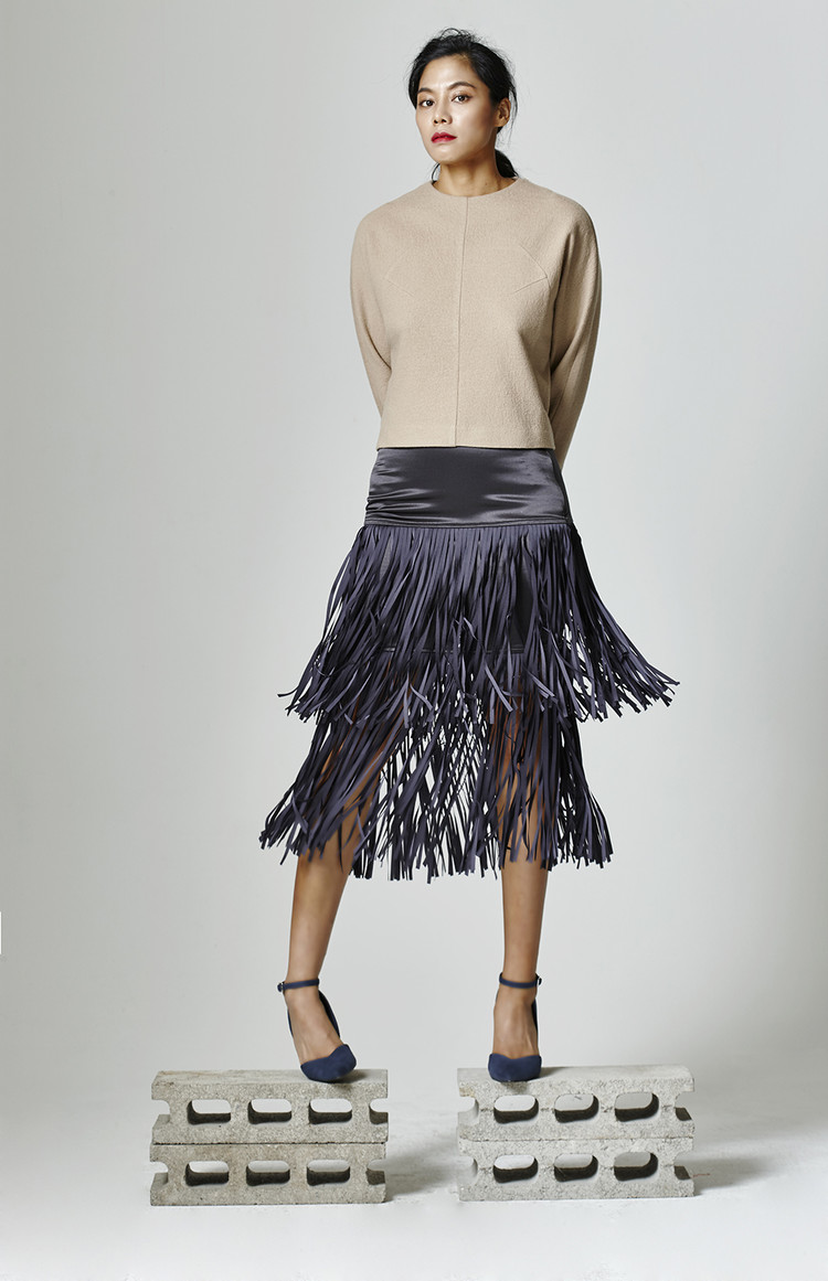 Fringe Silk Skirt