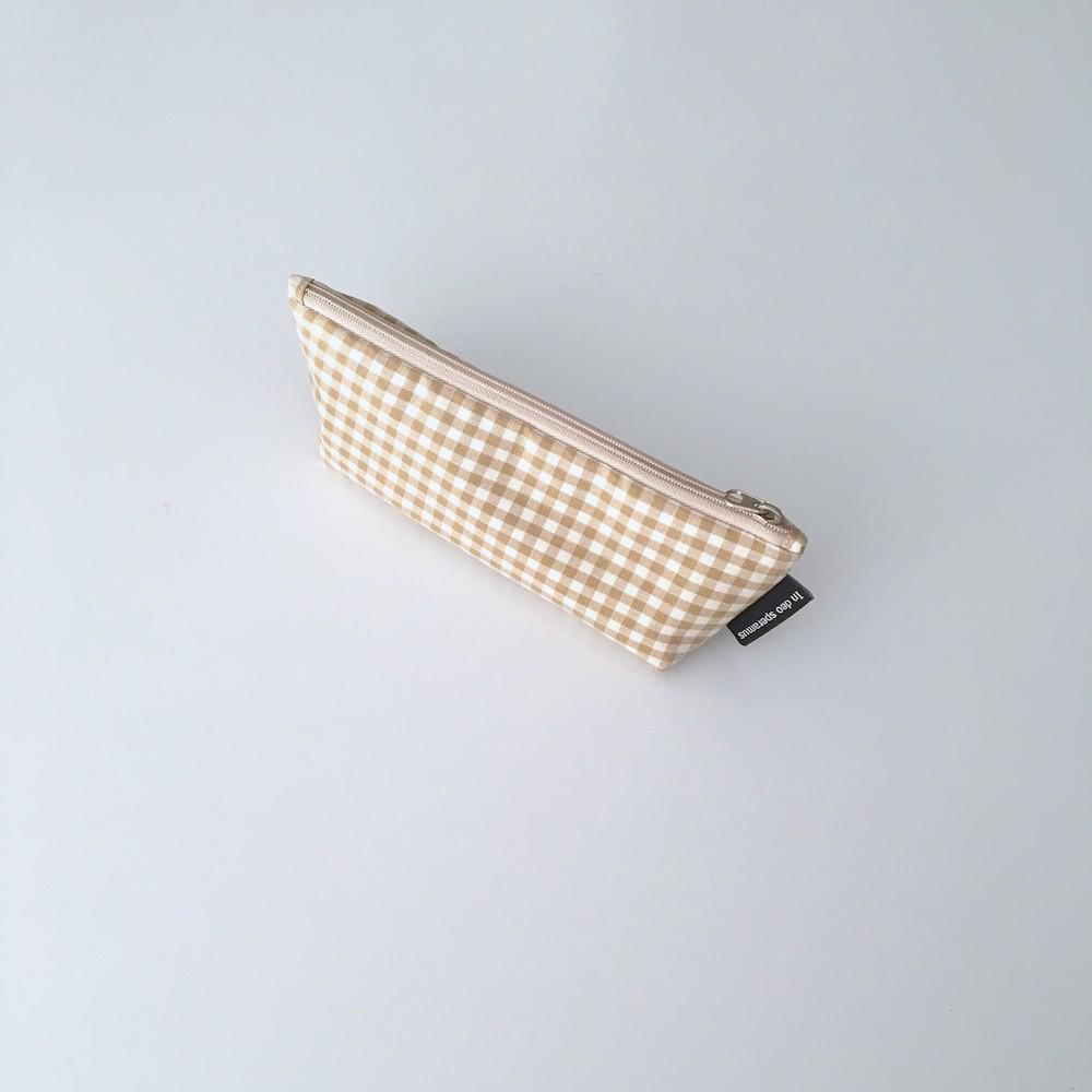 베이지 체크 필통(Beige check pencil case) - 인데오스페라무스, 9,500원, 패브릭필통, 심플
