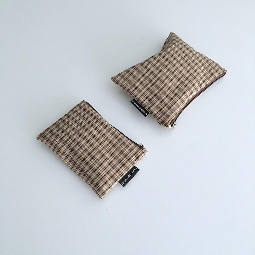 빈티지 베이지 체크 파우치(Vintage Beige check pouch) - 인데오스페라무스, 8,000원, 메이크업 파우치, 지퍼형